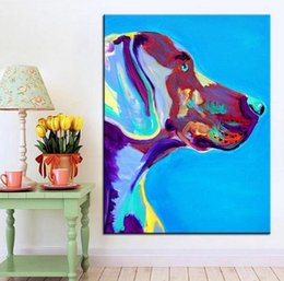 Wholesale Oil Paintng - Large size Print Oil Painting weimaraner blue Wall painting Home Decorative Wall Art Picture For Living Room paintng
