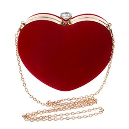 Wholesale Animal Shaped Straws - Suede Heart Shape Clutch Bag Messenger Shoulder Handbag Tote Evening Bag Rhinestone Crystal Minaudiere Clutch Bags