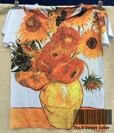 Wholesale Still Life Oils - Wholesale-Track Ship+New Vintage Retro Rock&Roll Punk T-shirt Top Tee Famous Oil Painting Sunflowers Sunflower Still Life 0207