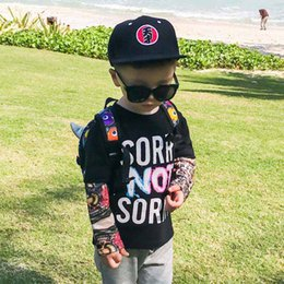 Wholesale Funny Baby Tees - Fashion Printed letter long sleeve Boys T Shirts cool Children T-Shirts kids Tops Funny Shirts Tee Shirt Boy Kids Clothes Baby Clothing A867