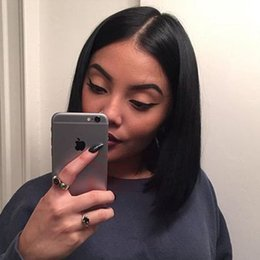 Wholesale Remy Bob Wig - Indian Remy Human Hair Lace Front Wigs For Black Women Glueless Lace Front Bob Wigs Short Haircuts Straight Full Lace Short Wigs