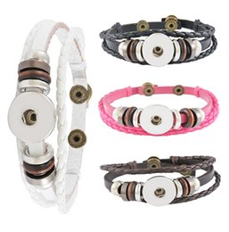 Wholesale couples rope bracelets - DIY Leather Bracelets Snap Button Bracelets 23CM Couple Ginger Snap Bracelet 4 Styles Fit 18mm Noosa Chunks Button Valentine'S Gift N302L