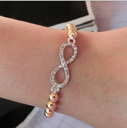 Wholesale Elasticity Bracelets - Wholesale-New Fashion Classical Elasticity Beads Chain Full CZ Diamond LOVE Pendant pulseras Braceles For Women Jewelry of B41