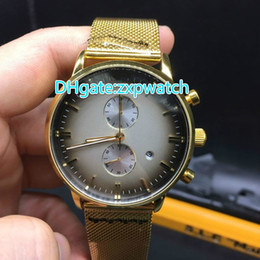 Wholesale Running Calendar - Simple men's fashion watch brand quartz chronograph stainless steel gold watchband running second calendar Mens Watch