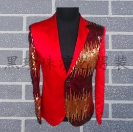 Wholesale Suits Neck Designs For Men - Wholesale Black red men suits designs masculino homme terno stage costumes for singers men sequin blazer dance clothes jacket style dress