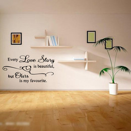 Wholesale Sticker Love Story - Every Love Story Is Beautiful Wall Sticker Removable Funny Quote Art Wall Bedroom Living Room Modern Diy Decor