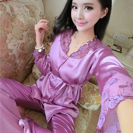 Wholesale Women Silk Pants Suits - Wholesale- New 2016 Spring Autumn Women Silk Pajama Sets V-Neck Long Sleeve Sleepwear Pajamas Girls Nightgown Tracksuit Pants 2pcs Suits