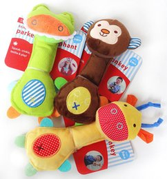 soft animal baby rattles Coupons - Wholesale- Newborn Toys Baby Rattle Soft Animal Model Plush Toy Rattle BB Stick Stuffed Handbells Cute Gift Infant Baby Toys 0-12 Months