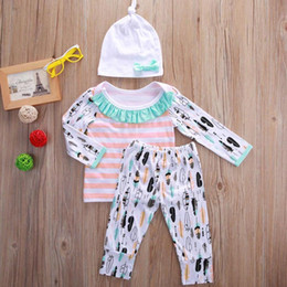 Wholesale Girls Legging Top Sets - Baby Girls Clothes Toddler Clothing Set Cotton Infant Outfit Autumn Playsuit Striped Long Sleeve Top Trouser Legging Pants Kidswear pajamas