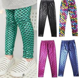 Wholesale Wholesale Slim Pants - Kids Girls Mermaid Skinny Leggings Stretchy Slim Children Pants Fish Scale baby Colorful Digital Printing Leggings Pants 12 color KKA1970