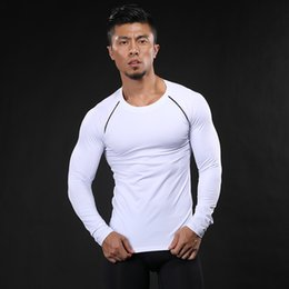 Wholesale Crossfit Training - New arrival Quick Dry Compression Shirt Long Sleeves Training tshirt Summer Fitness Clothing Solid Color Bodybuild Gym Crossfit