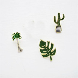 Wholesale Brooch Tips For Collar - Wholesale- Fashion Enamel Cactus Plants Badges Brooches For Womens Jewelry Collar Tips Coconut Tree Leaf Scarf Lapel Pins Piercing Brooch