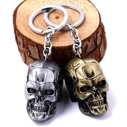Wholesale Girl Skull Pendant - Movie The Terminator Skull Keychain Zinc Alloy Pendant Fashion Keyring For Men And Woman NE616
