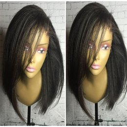 Wholesale Indian Yaki Remy Hair - Yaki Pre Plucked Full Lace Human Hair Wigs For Black Women 130 Density Remy Hair Glueless Brazilian Lace Wigs Bleached Knots