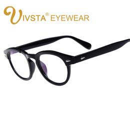 Wholesale Johnny Depp Lens - Wholesale- IVSTA Classic Style Johnny Depp Glasses Men Eyeglasses Frame Women Round Optical Frames Myopia Grade Lenses Bamboo Wood PC 793