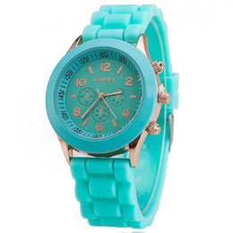 Wholesale Geneva Candy Watches - Geneva watch luxury fanshion shadow rubber silicone Candy jelly watches men women students Unisex Quartz Wrist Watches couples gifts sale