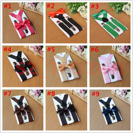 Wholesale Girls Bow Tie Suspenders - 27 colors Kids Suspenders Bow Tie Set for 1-10T Baby Braces Elastic Y-back Boys Girls Suspenders accessories Free Shipping A-0442