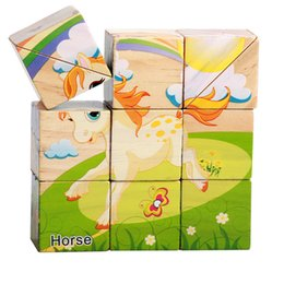 Wholesale Cube Jigsaw - 11pcs set 3D Cubes Animal Wooden Puzzle Education Learning Tools Toys Baby Six Sides Hourse Car Hexahedral Jigsaw Puzzle