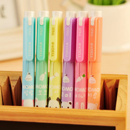 Wholesale Cartoon Highlighter - Wholesale- 6 pcs lot Cartoon Animal Colorful Candy Color Highlighters Markers Pen Gift School Office Supply Stationery