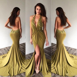 Wholesale Dress Side Open Halter - Sexy Open Back Olive Prom Dresses 2017 Plunging V Neck Evening Wear with Appliques Sexy Backless Side-Slit Halter Deep-V-Neck Party Gowns
