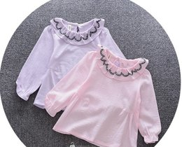 Wholesale Kids Blouse Embroidery - Baby girls cotton linen T-shirt toddler kids embroidery lapel princess tops kids falbala sleeve blouses girl autumn clothes T4722