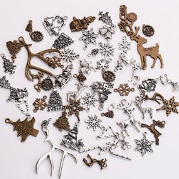 Wholesale Christmas Craft Charms - Wholesale- Vintage Metal Christmas Charms for Jewelry Making DIY Christmas Pendant Charms Jewelry Handmade Crafts 100pcs lot C5093