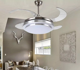 "Wholesale Ceiling Light Chrome Modern - 31 8 9"" Modern Chrome Round Shaped LED Ceiling Fan Lights with Foldable Invisible Blades 100-240v invisible ceiling fans led light LLFA"