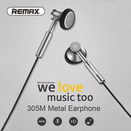 Wholesale Mobile Fone - Remax 305M 3.5mm Earphone Metal Earphone Headset Stereo Bass In-Ear Headphones Earphones Fone De Ouvido Micphone Mobile Phone