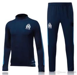 Wholesale Fleece Jogging Pants - 2017 Olympic Marseille Tracksuit Soccer Jogging Football Tops Coat Pants Sports Training 17 18 Suit Men Adults OM Football Track Suit