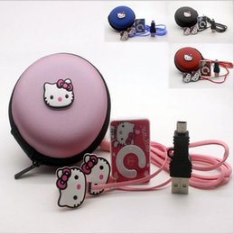 Wholesale Girl Hour - Wholesale- High Quality Mini2017 Hello Kitty MP3 Music Player Clip MP3 Players Support TF Card With Earphone Mini USB Bag boys girls gift