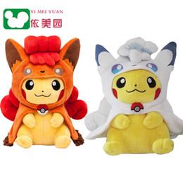 Wholesale Pikachu Ornament - New promotion 23cm or 30cm fluffy stuffed toy plush doll high quality cloak vulpix pikachu ornaments