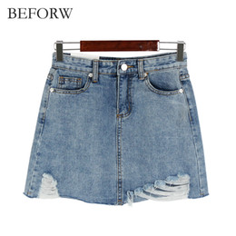 Wholesale Jupe Denim - Wholesale- BEFORW Summer Jeans Skirt Women High Waist Jupe Irregular Edges Denim Skirts Women Mini Saia Washed Faldas Casual Pencil Skirt