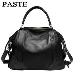 Wholesale Pvc Paste - Wholesale- PASTE women genuine leather shoulder bag Casual Tote Vintage Famous brand designer women messenger bags ladies luxury handbags