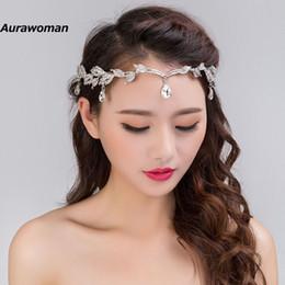 Wholesale Silver Chain Headpieces - Crystal Bride Headpiece Chain Wedding Hairband Rhinestone Leaf Tiara Crown Bridal Headband Frontlet Hair Jewelry Wedding Hair Accessories