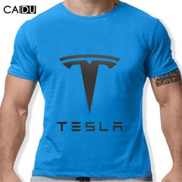 Wholesale Boy Short Sleeve Hooded - Wholesale- Tesla Men T Shirts Short Sleeve Round Neck Ringer Letter Printed New Arrival Male Tees Casual Boy t-shirt Tops Discounts