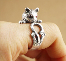 Wholesale Hippie Rings - Wholesale- SMJEL Summer Style Hippie Vintage Anel Punk Kitty Wedding Ring Boho Chic Knuckle Animal Cat Rings For Women Fine Jewelry R337