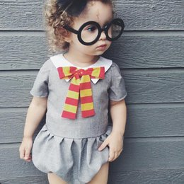 Wholesale Grey Baby Jumpsuit - Europe Western Baby Clothing Girls Romper Summer New Girl's Rompers Bowknot Grey One-piece Cute Bow Jumpsuits Babies One-piece Rompers A6483