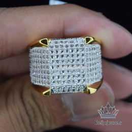 Wholesale Diamond Wedding Bands 14k - Mens 14K Yellow Gold D VVS1 Diamond Pinky Engagement Wedding Band Ring 2.00 Ct