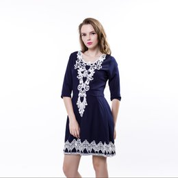 Wholesale Dreeses Lace - Lace Floral Side Design Sexy Dress Women Hollow Out Flower Big Neck Mid-Sleeve Dreeses High Waist Slim Retro Dress