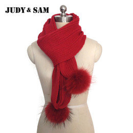 Wholesale White Long Wool Scarf Woman - JSFUR Brand 2015 New Scarf For Women with Real Raccoon Fur Wool Blend Knitted Stripped Style Long Scarves Women Scarves