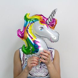 Wholesale Horse Baby Shower - Wholesale 50pcs Mini Rainbow Unicorn Foil Balloons Air -Filled Ballon For Kids Birthday Party Supplies Baby Shower Horse Globos