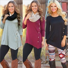 Wholesale Womens White Blouses Long Sleeve - 6 Colors New Fashion Womens Autum pullover Blouse With buttons T Shirt Tops Irregular Long Sleeve Loose Ladies Casual top