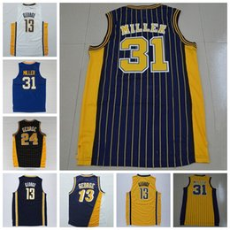 Wholesale Mens Discount White Shirts - Discount 31 Reggie Miller Throwback Uniforms Mens 13 Reggie Miller Jersey 24 Shirt Rev 30 New Material Navy BLue White Yellow Black Color