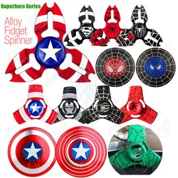 Wholesale Mini Super Heroes - Super Hero Fidget Spinner Alloy Hand Spinners America Captain Ironman Toy CNC EDC Finger Tip Anxiety Rollover Novelty HandSpinners Toys DHL