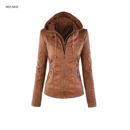 Wholesale Leather Jacket Women Xxl - Wholesale- 2016 Autumn Women Basic Coat Winter Long Sleeve Khaki Faux Leather Jacket Ladies Slim Warm Outwear Zipper Plus Size Clothing xxl