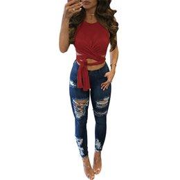 Wholesale Crop Tanks - Vest 2017 Women Summer Cross Bandage Crop Top vest Free Shipping