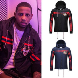 Wholesale Nylon Outerwear - Men Nylon Hooded Jacket With Striped Patch Embroidery Angry Cat Full Zip Through Up Leightweight Outerwear Buy Black Blue