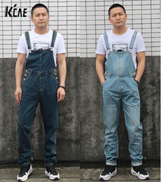Wholesale Straight Loose Jumpsuit - Wholesale-New Brand Men's Denim Bib Pants Male Loose Plus Size Casual Jeans Straight One Piece Long Trousers Suspenders Overalls Jumpsuit