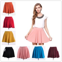 Wholesale Casual Dress For Large Women - 2017 New Hot Large Size High Waist Pleated Dress Casual Elegant Dresses For Women 8 Colors Beautifull Fashion Mini Women Fairy Dress
