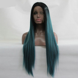 Wholesale Sythetic Hair Wigs - Silk Straight Sythetic Lace Front Wigs Glueless Dark Roots Natural Green Ombre Wig Heat Resistant Fiber Hair Free Shipping